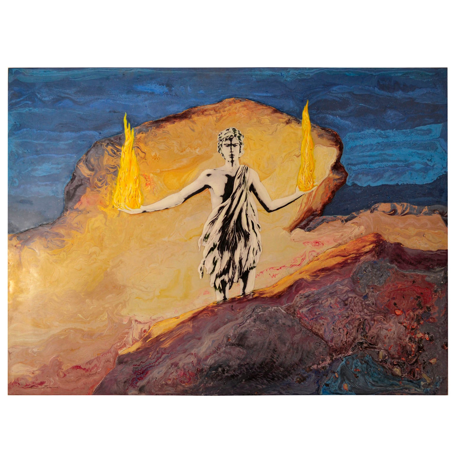 Artistic  Wall Panel Scagliola Art inlaid decoration mythological  subject