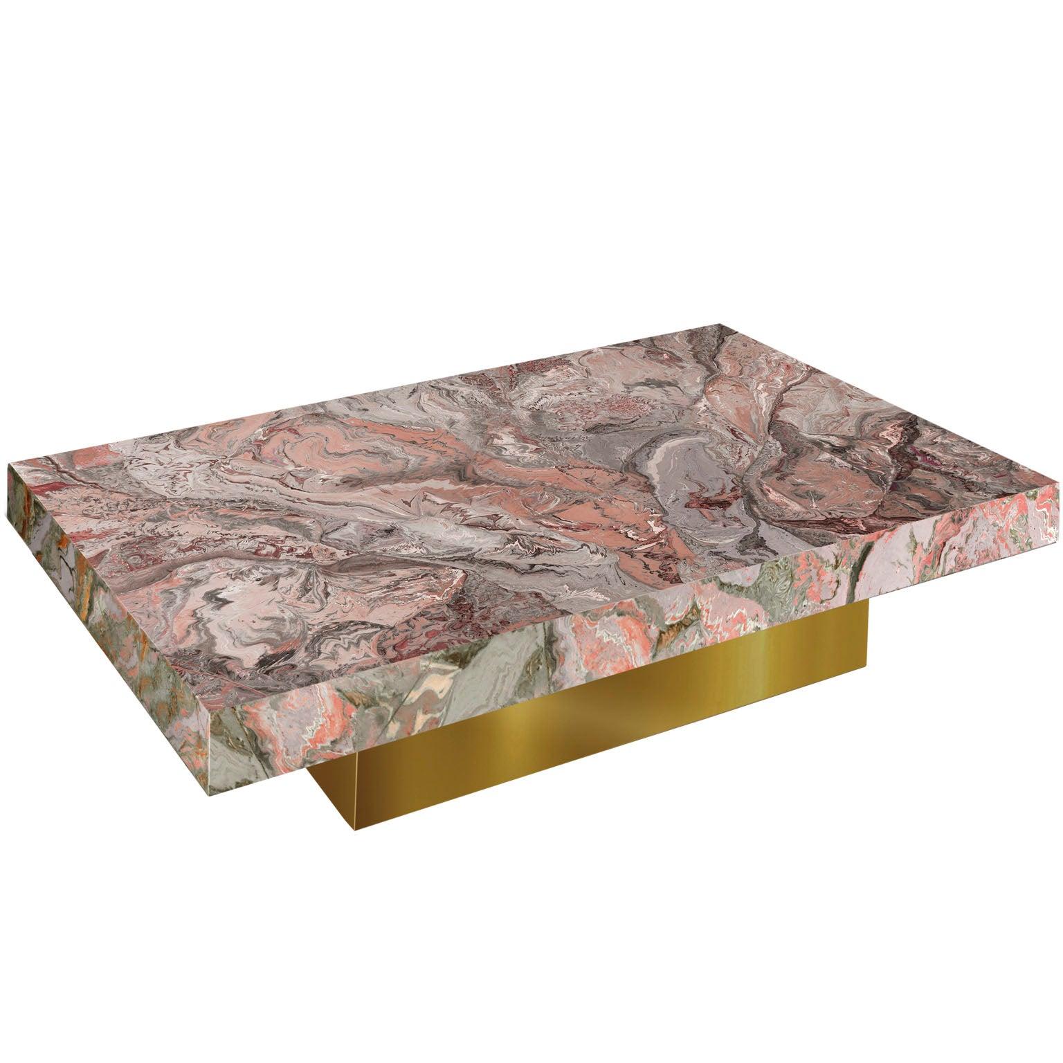 Modern Coffee Table  Pink Grey Marbled Scagliola Decoration Gold Leaf Base