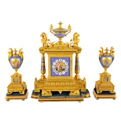 French Ormolu and Porcelain Clock Garnitur