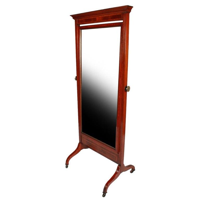 Inlaid Edwardian Cheval Mirror