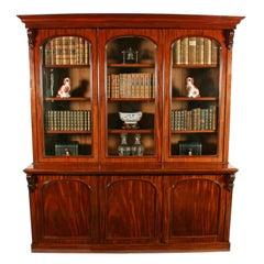 Victorian Mahogany Three-Door Bookcase