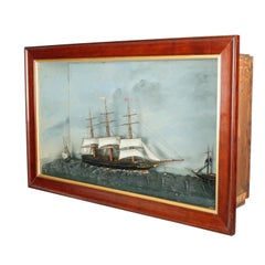 19th Century Three Ship Diorama