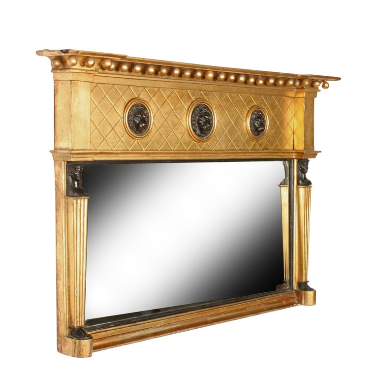 Empire Regency Giltwood Overmantel Mirror For Sale