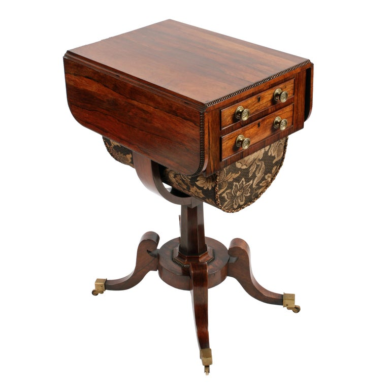 English Regency Rosewood Work Table For Sale