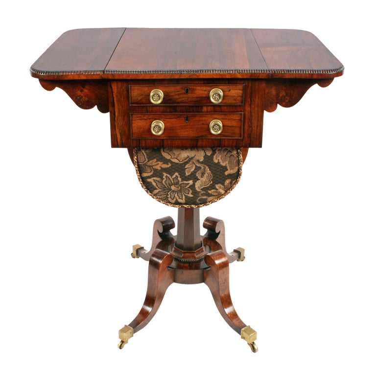 Regency Rosewood Work Table For Sale 3