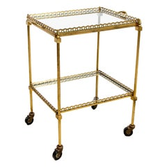 French Brass Cocktail Cart on Casters with Mirrored Shelves Maison Bagues Style