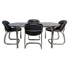 Set of Four Black Italian Sabrina Chairs & Glass Table, Gastone Rinaldi for Rima