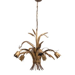 Coco Chanel Gold Leaf 'Sheaf of Wheat' Chandelier by Maison Baguès, France