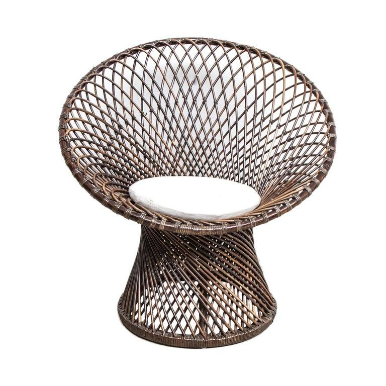 Large Vintage Bohemian Franco Albini 1950s Rattan or Wicker Chair