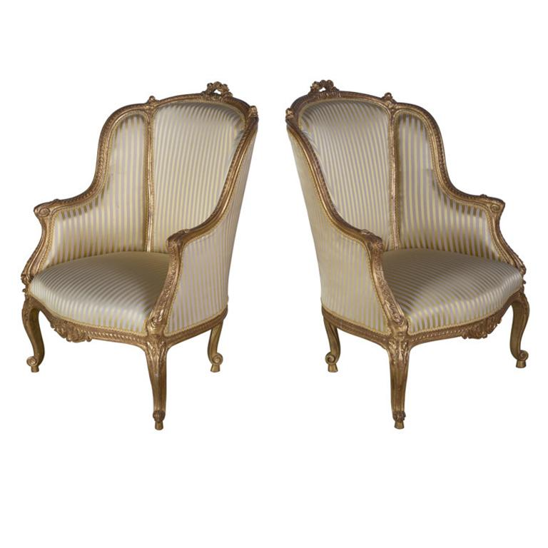 Pair of 19th Century Upholstered French Carved Giltwood Chairs