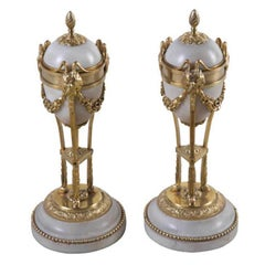 19th Century White Marble and Ormolu Mounted Cassolettes