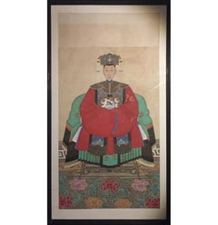 Large Framed Chinese Patriarch Ancestral Painting