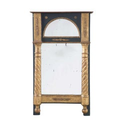 Small Black and Gilt 19th Century Overmantel Style Mirror