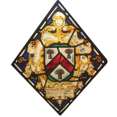 Stained Glass Window Element with Hand-Painted Designs and Lead Framing