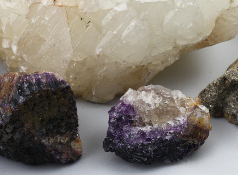 Collection of Rock Fossils Including Blue John and an Ammonite For Sale 3