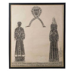 Framed Brass Rubbing on Paper Depicting Two Figures