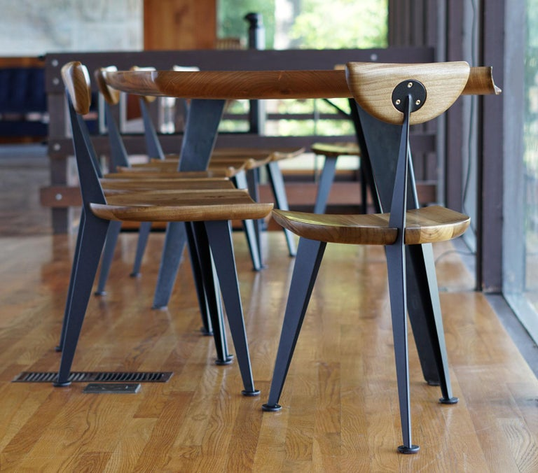 Carved Los Gatos Three Leg Modern Dining Chair with Sculpted Seat/Back and Steel Legs For Sale