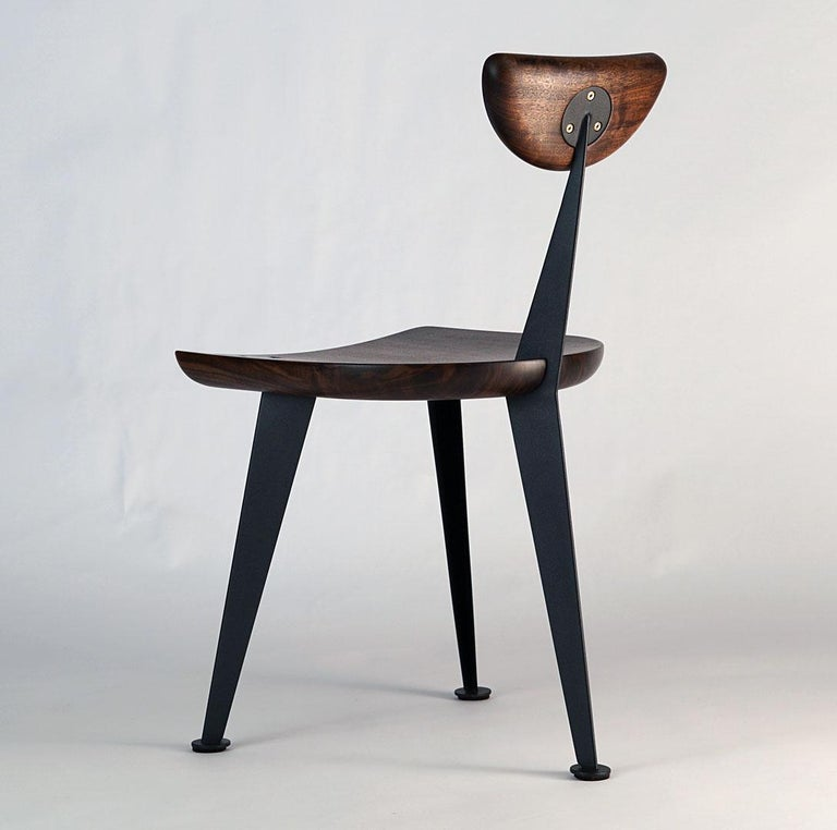Contemporary Los Gatos Three Leg Modern Dining Chair with Sculpted Seat/Back and Steel Legs For Sale