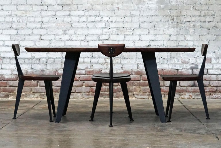 Los Gatos Three Leg Modern Dining Chair with Sculpted Seat/Back and Steel Legs For Sale 6