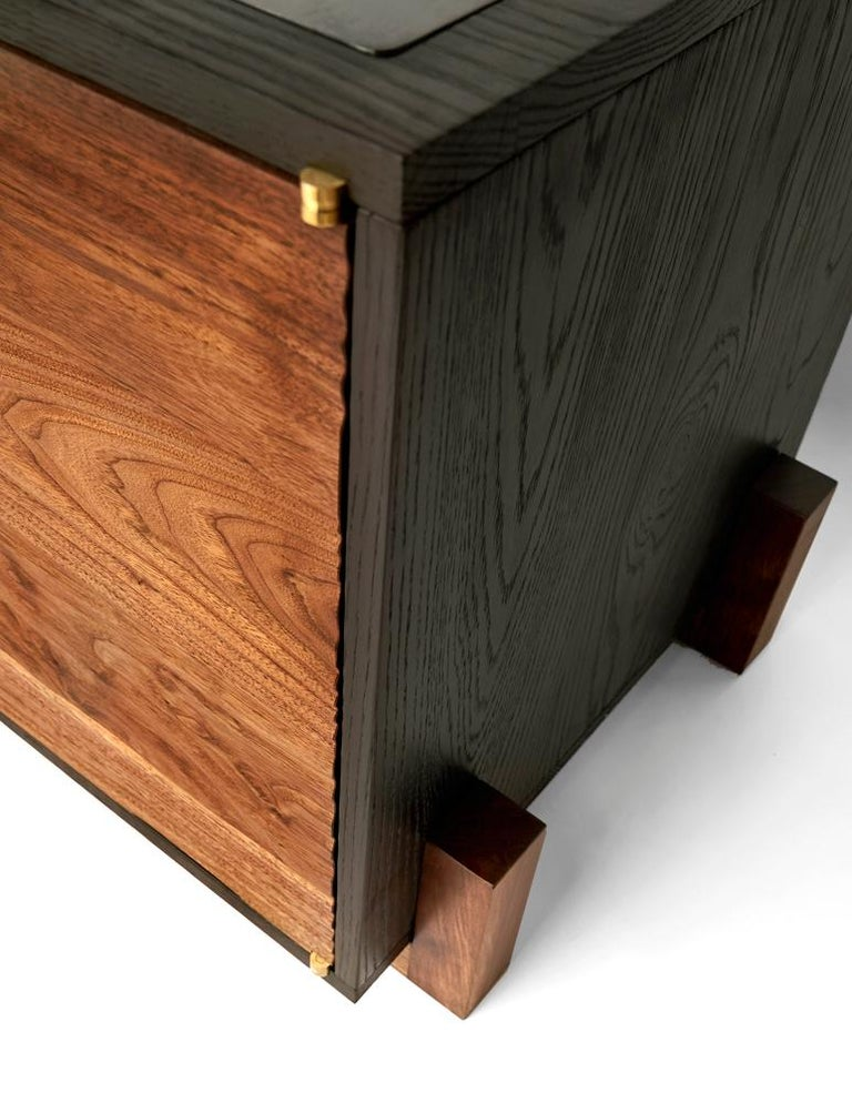 Cave Credenza Sideboard by Cauv Design Burnt Oak and Walnut Blackened Steel In New Condition For Sale In Brooklyn, NY