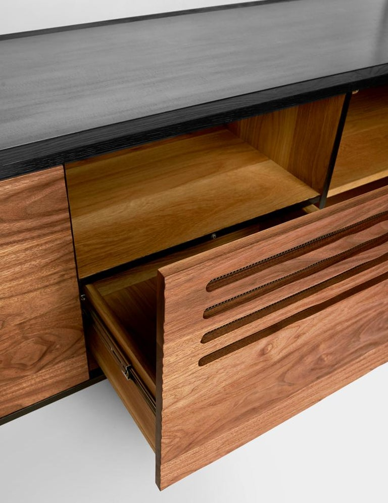 Cave Credenza Sideboard by Cauv Design Burnt Oak and Walnut Blackened Steel For Sale 1