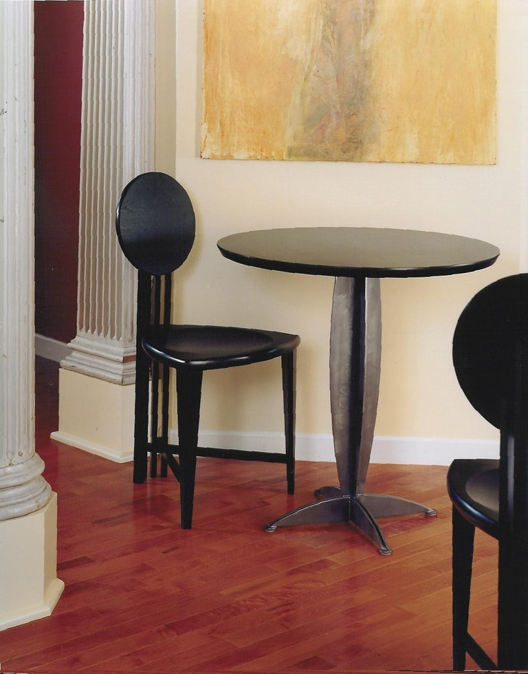 Wood Circle-Back Chairs, Contemporary Handmade Dining, Desk, or Corner Chairs For Sale