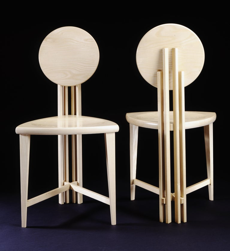 Prairie School Circle-Back Chairs, Contemporary Handmade Dining, Desk, or Corner Chairs For Sale