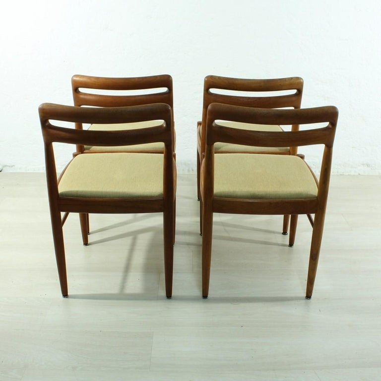 German Set of 4 1960s Teak Dining Chairs by H.W. Small for Bramin For Sale