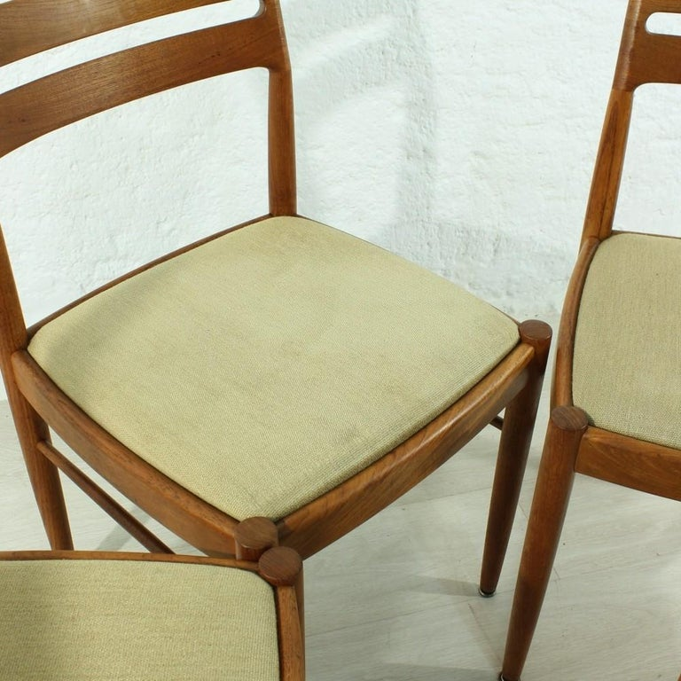 Set of 4 1960s Teak Dining Chairs by H.W. Small for Bramin For Sale 1
