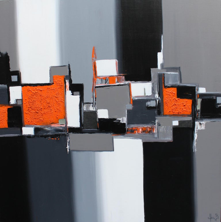 "Sylvie B. Painting ""Abstraction in Orange"", 2017"
