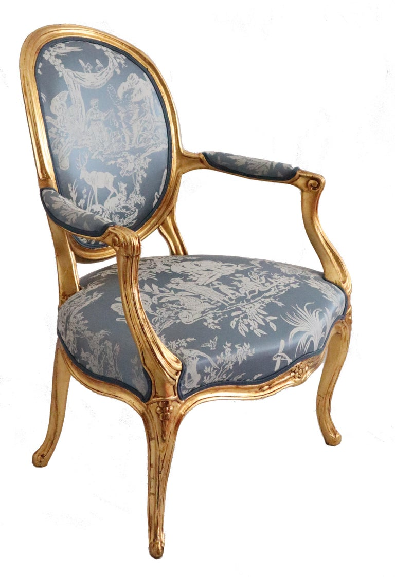 Silk Pair of Louis XVI Style Blue Armchairs French, Early 20th Century For Sale