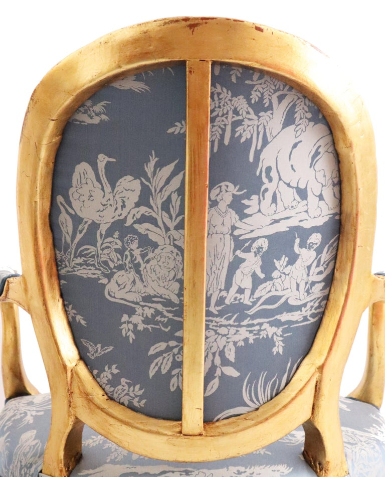 Pair of Louis XVI Style Blue Armchairs French, Early 20th Century For Sale 2