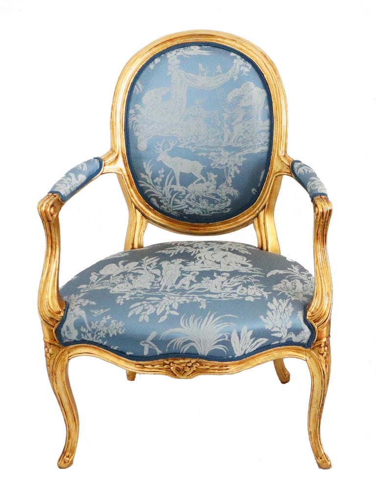 Pair of Louis XVI Style Blue Armchairs French, Early 20th Century In Good Condition For Sale In Katwijk aan Zee, NL