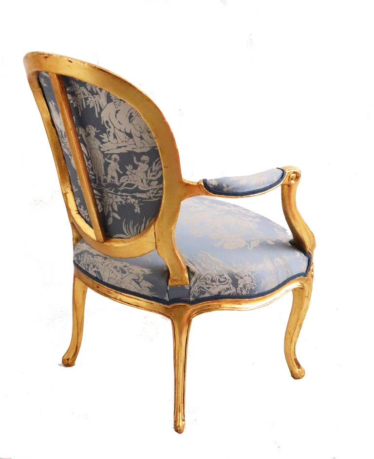 Pair of Louis XVI Style Blue Armchairs French, Early 20th Century For Sale 1