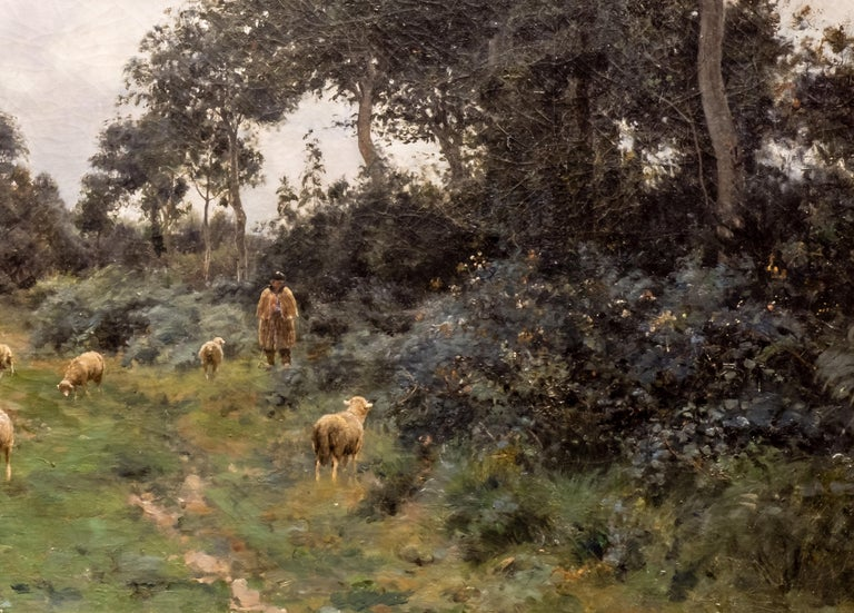 Victor J. Baptiste Barthélemy Binet, French, Sheep Grazing, 1884 Oil on Canvas For Sale 1