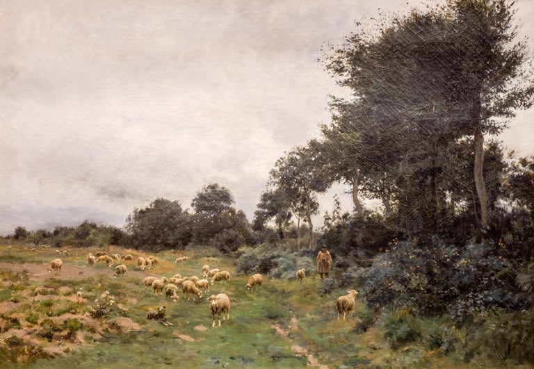 A late 19th century Barbizon School oil on canvas by Victor Jean Baptiste Barthélemy Binet (1849-1924), featuring a rural scene of sheep with a shepherd on a cloudy day. He exhibited at the 1878 Paris Salon, at the Royal Acadmy in London in 1886