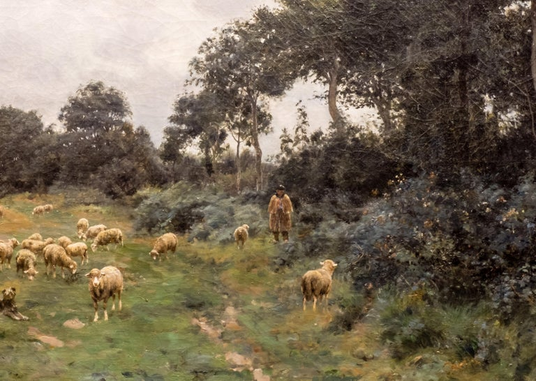 Painted Victor J. Baptiste Barthélemy Binet, French, Sheep Grazing, 1884 Oil on Canvas For Sale