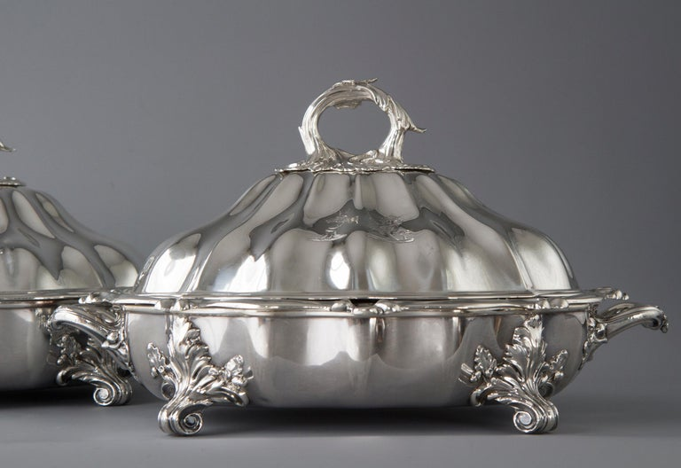 Pair of Victorian Silver Vegetable Tureens with Warming Bases, London, 1845 For Sale 6