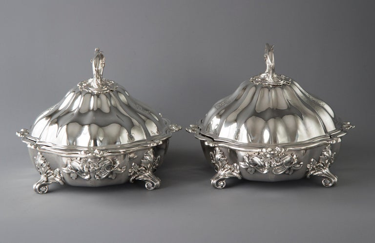 Pair of Victorian Silver Vegetable Tureens with Warming Bases, London, 1845 For Sale 7