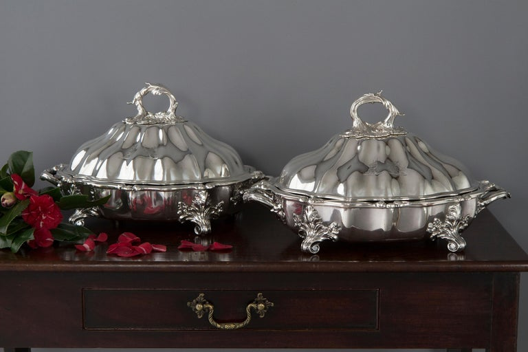 Pair of Victorian Silver Vegetable Tureens with Warming Bases, London, 1845 For Sale 13