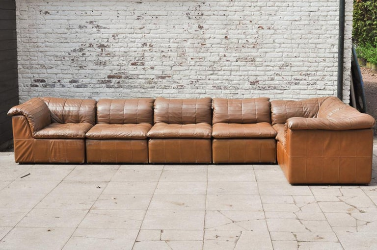 Cognac Leather De Sede Style Patchwork Element Sofa Attrb Laauser Germany 1970 S