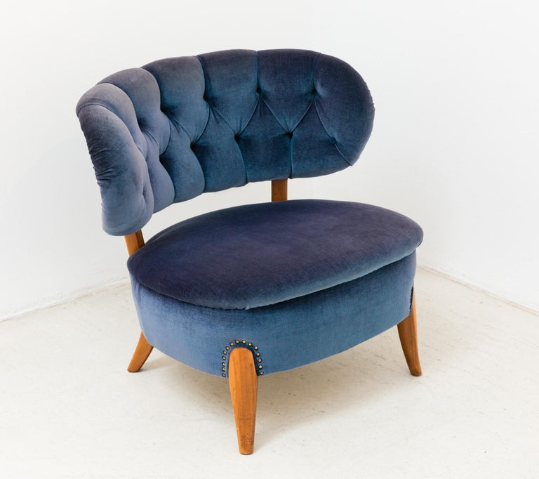Mid-Century Modern Pair of Blue Velvet Easy Chairs by Otto Schulz For Sale