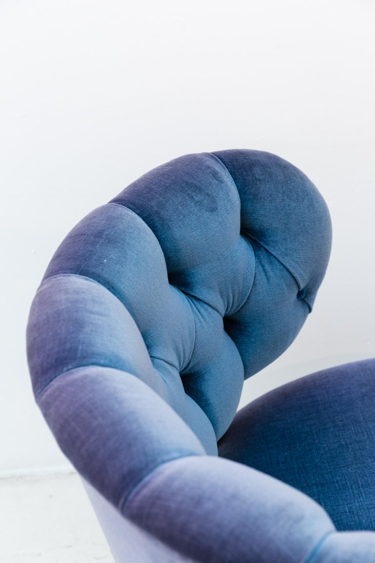 Pair of Blue Velvet Easy Chairs by Otto Schulz In Good Condition For Sale In Munich, DE