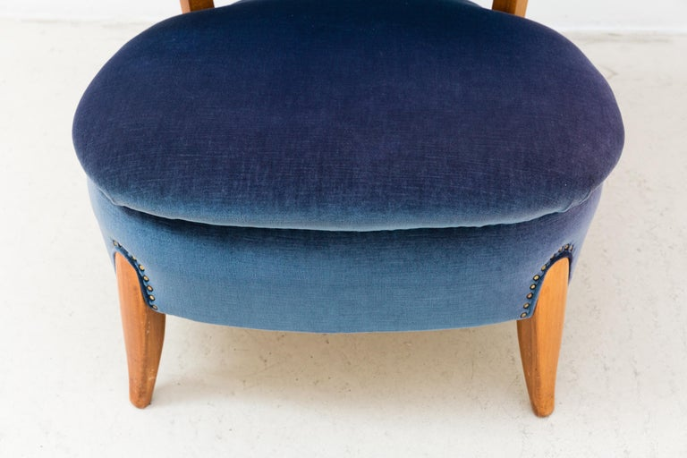 Pair of Blue Velvet Easy Chairs by Otto Schulz For Sale 1
