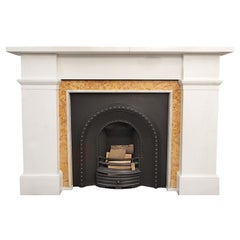 Statuario Marble Fireplace Mantel with Sienna Slips