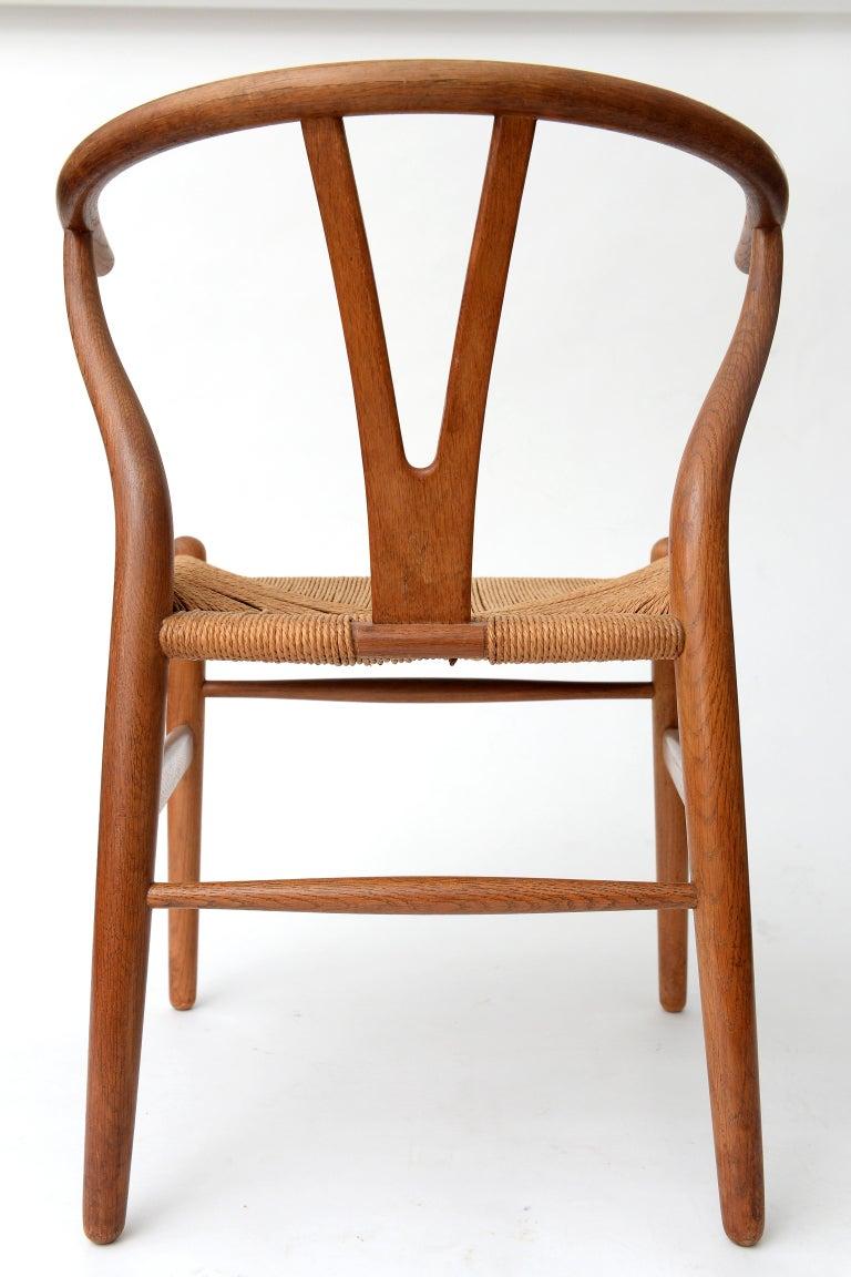 Vintage Hans Wegner Wishbone Chair and a Jorgen Baekmark Stool, 1960s In Good Condition For Sale In Sint Joris Weert, BE