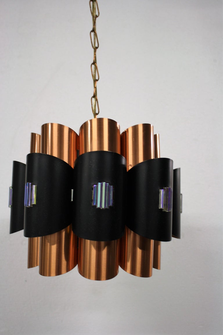 Scandinavian Modern Vintage Copper Pendant Light by Werner Schou, 1960s For Sale