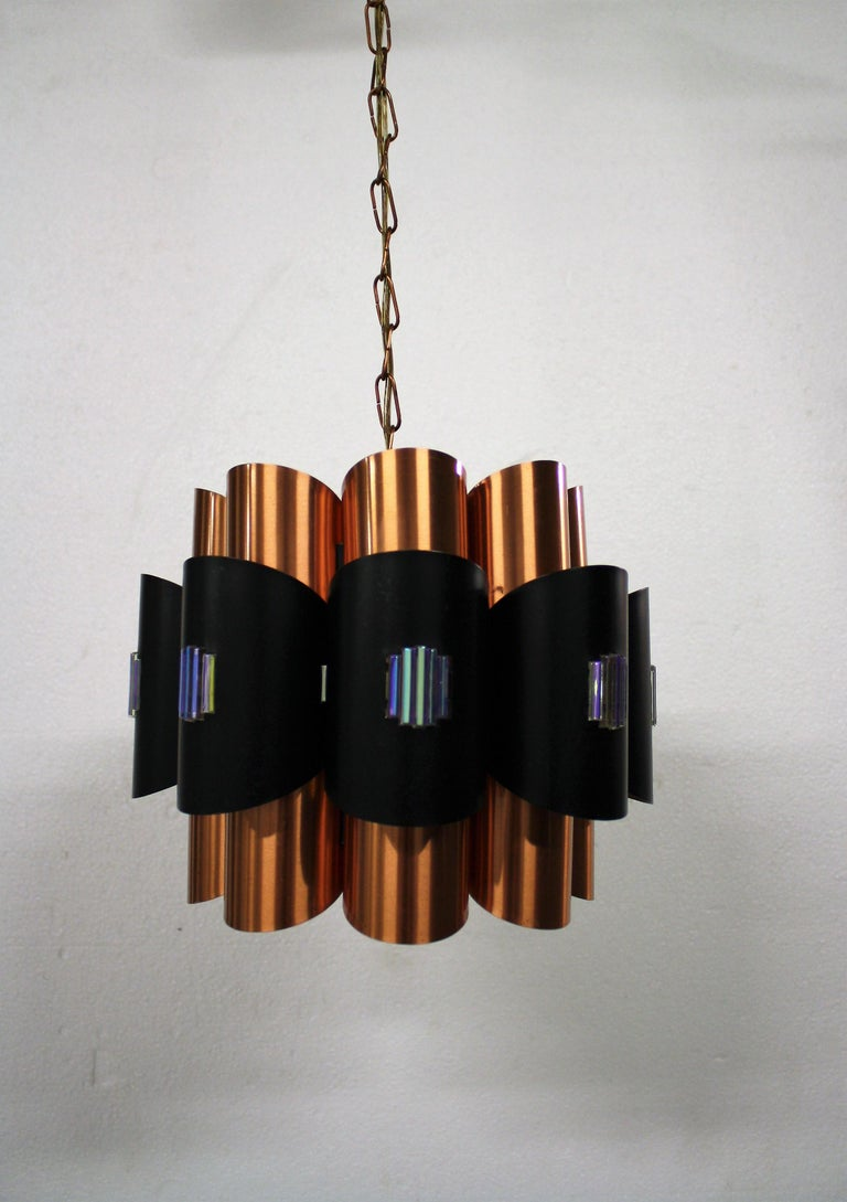 Danish Vintage Copper Pendant Light by Werner Schou, 1960s For Sale