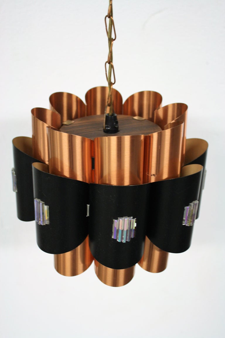 Metal Vintage Copper Pendant Light by Werner Schou, 1960s For Sale