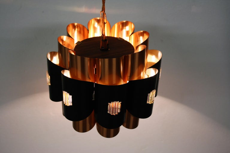 Vintage Copper Pendant Light by Werner Schou, 1960s For Sale 2